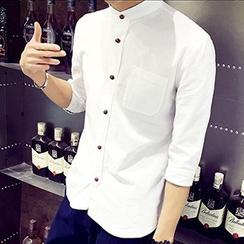 Gurun Vani - Stand-collar 3/4-Sleeve Linen Shirt