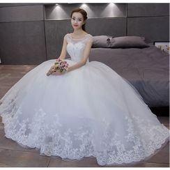 MSSBridal - Embellished Cap-Sleeve Maternity Wedding Ball Gown