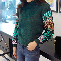 chuu - Sequined-Sleeve Wool Blend Furry-Knit Top