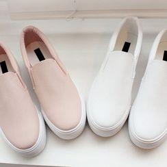 DANI LOVE - Genuine-Leather Platform Slip-Ons