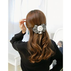 soo n soo - Faux-Pearl Flower Bow Hair Barrette