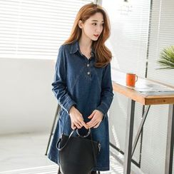 OrangeBear - A-Line Denim Shirt Dress