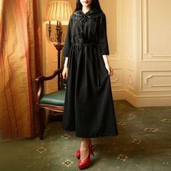 MUSI - Lace Collar Drawstring Waist Maxi Chiffon Dress