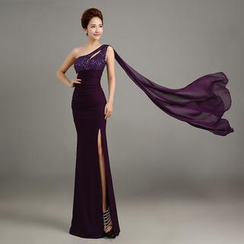 Posh Bride - One-Shoulder Embellished Sheath Evening Gown