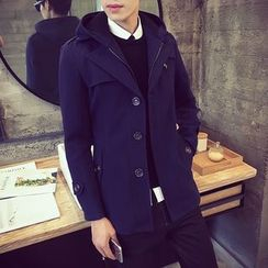 Alvicio - Plain Hooded Coat