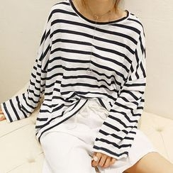 NANING9 - Crop-Shoulder Stripe T-Shirt
