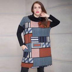 JUBO - Printed Cowl Neck Long-Sleeve Tunic