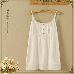 Storyland - Sleeveless Eyelet-Lace Buttoned Top