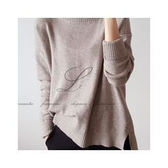 LEELIN - Turtle-Neck Dip-Back Knit Top