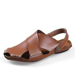 EnllerviiD - Genuine-Leather Stitched Sandals