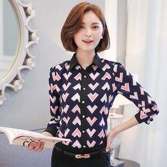 lilygirl - Heart Print Chiffon Shirt