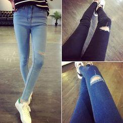 Denim Fever - Distressed Skinny Jeans