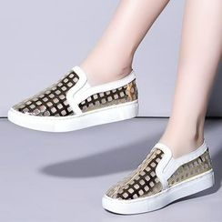 Shoes Galore - Metallic Perforated Slip Ons