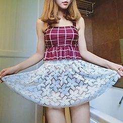 Sewwi - 套裝: 格子坦基尼泳衣 + 蕾絲短裙