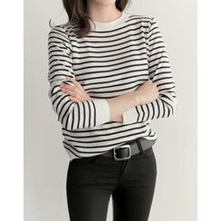 UPTOWNHOLIC - Round-Neck Striped Knit Top