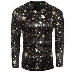 Fireon - Star Print Long Sleeve V-Neck T-Shirt