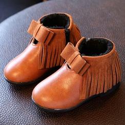 綠豆蛙童鞋 - 兒童流蘇踝靴