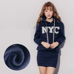 PUFII - 'NYC' Applique Fleece-Lined Hoodie Dress