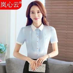 Skyheart - Pintuck Short-Sleeve Dress Shirt / + Skirt