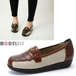 MODELSIS - Genuine Leather Contrast-Trim Loafers