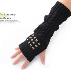 Fireon - Studded Fingerless Long Gloves