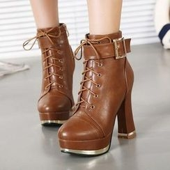 Mancienne - Buckled Chunky-Heel Ankle Boots
