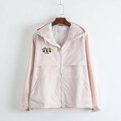 TOJI - Embroidered Hooded Zip Jacket