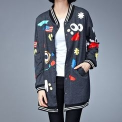 Gaia - Printed Baseball Jacket