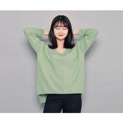 HOTPING - V-Neck Dip-Back Knit Top