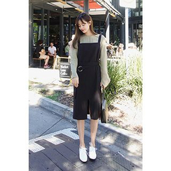 CHERRYKOKO - Pocket-Side Belted Jumper Dress