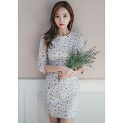 Chlo.D.Manon - 3/4-Sleeve Floral Mini Sheath Dress