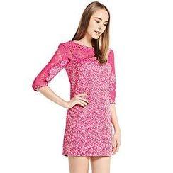 O.SA - Lace-Panel Floral Shift Dress