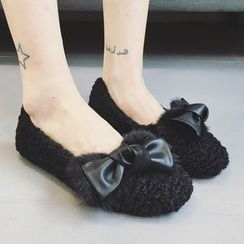 Zandy Shoes - Bow-Accent Furry Flats