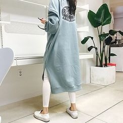 MARSHMALLOW - Maternity Slit-Side Lettering-Back Maxi Dress