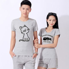 Matcha House - Couple Matching Cat Print Short Sleeve T-Shirt