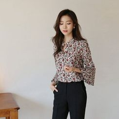 Hello sweety - Bell-Sleeve Floral Print Blouse