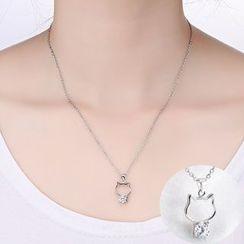 Claudette - Sterling Silver Cat Necklace