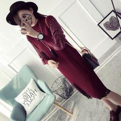 Qimi - 條紋高領針織裙衣