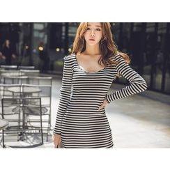 UUZONE - Striped Slit-Front Dress