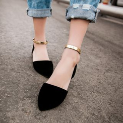 Shoes Galore - Metal Bar Ankle Strap Flats