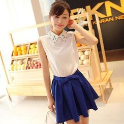 Sunny House - Set: Beaded Collar Sleeveless Blouse + Skirt