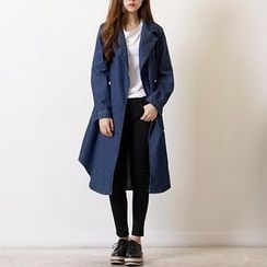 Champi - Denim Double-Breasted Trench Coat