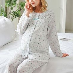 Oulimom - Maternity Set: Strawberry Print Nursing Pajama Shirt + Pants