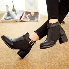 SouthBay Shoes - Chunky Heel Elastic Side Ankle Boots
