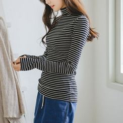 JUSTONE - Turtle-Neck Stripe Slim-Fit Top