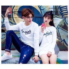 Igsoo - Couple Matching Lettering Long-Sleeve T-Shirt / T-Shirt Dress