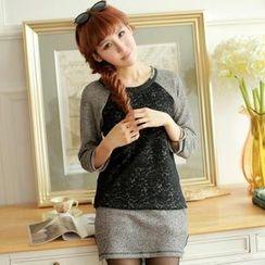 Chuvivi - Set: Long-Sleeve Raglan Top + Pencil Skirt
