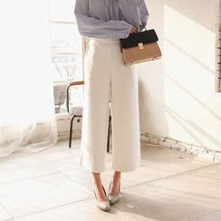 Seoul Fashion - Band-Waist Wide-Leg Dress Pants