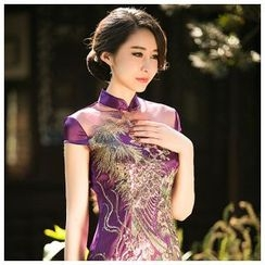 Janelle Qipao - Cap-Sleeve Sequined Embroidered Cheongsam