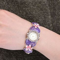 Hestia - Rhinestone Floral Bangle Watch